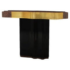 21st Century Horizon Console Walnut wood root Black Lacquered wood Gold Leaf