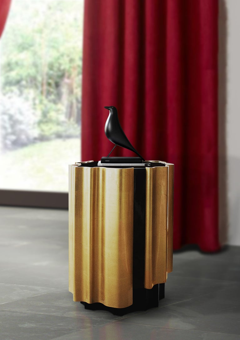 Portuguese 21st Century Horizon Side Table Wood Gold Leaf For Sale