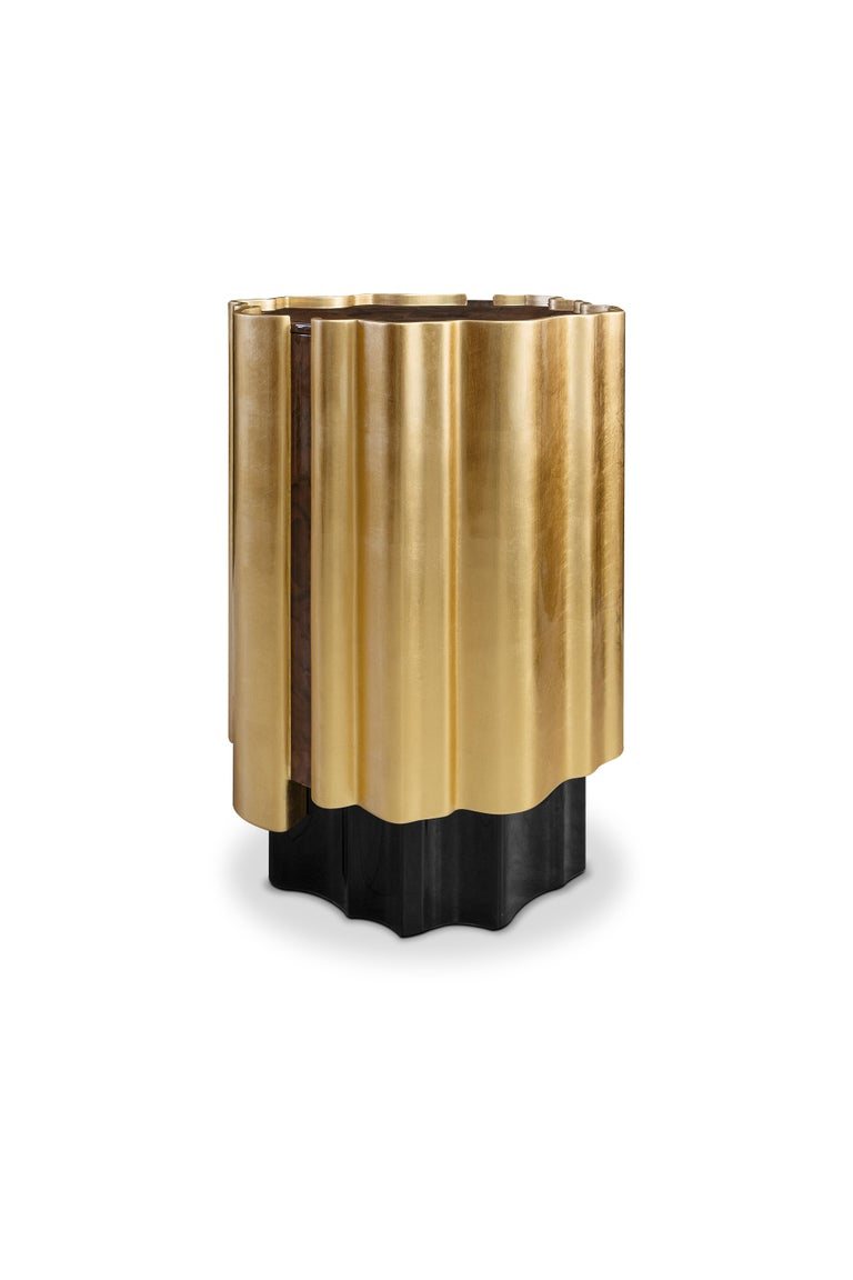 Lacquered 21st Century Horizon Side Table Wood Gold Leaf For Sale
