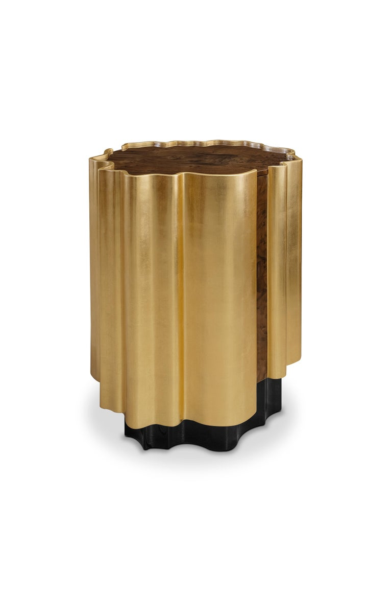 21st Century Horizon Side Table Wood Gold Leaf In New Condition For Sale In RIO TINTO, PT