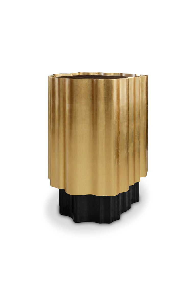 Contemporary 21st Century Horizon Side Table Wood Gold Leaf For Sale