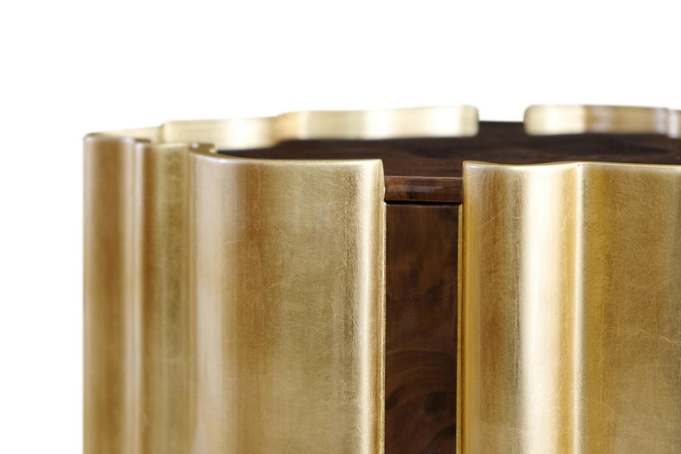 21st Century Horizon Side Table Wood Gold Leaf For Sale 1