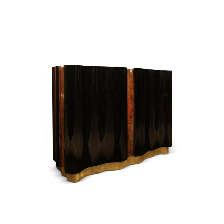 21st Century Horizon Sideboard Walnut Wood Root Black Lacquered Wood In New Condition For Sale In RIO TINTO, PT