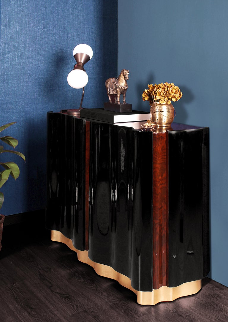 Velvet 21st Century Horizon Sideboard Walnut Wood Root Black Lacquered Wood For Sale