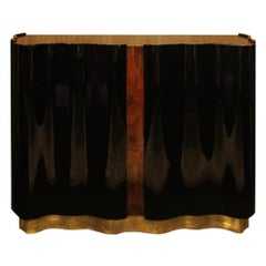 21st Century Horizon Sideboard Walnut Wood Root Black Lacquered Wood
