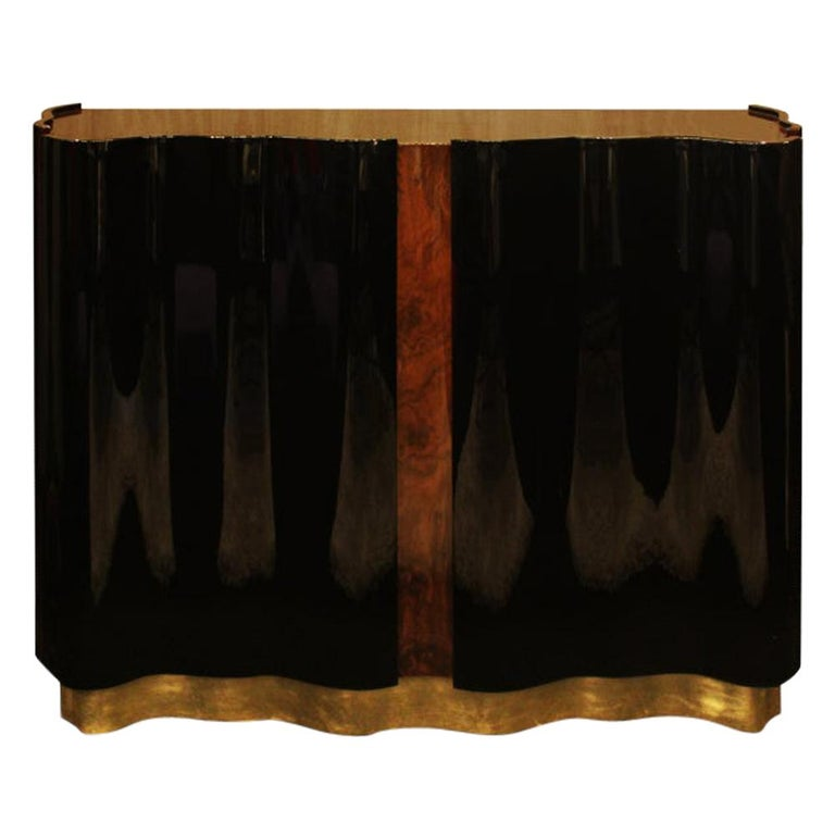 21st Century Horizon Sideboard Walnut Wood Root Black Lacquered Wood For Sale