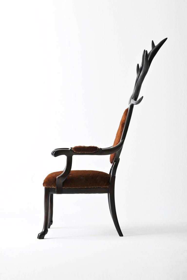 Arts and Crafts 21st Century Hybrid No 1 Armchair with Hand-Carved Antlers and Brown Leather For Sale