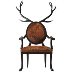 21st Century Hybrid No 1 Armchair with Hand-Carved Antlers and Brown Leather