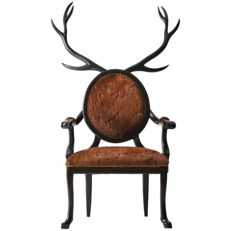21st Century Hybrid No 1 Armchair with Hand-Carved Antlers and Brown Leather For Sale