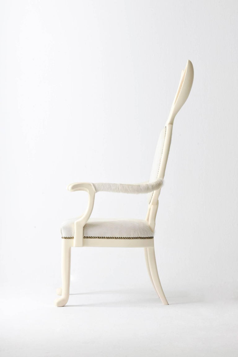 Arts and Crafts 21st Century Hybrid No 2 Armchair with Bunny Ears and White Leather For Sale