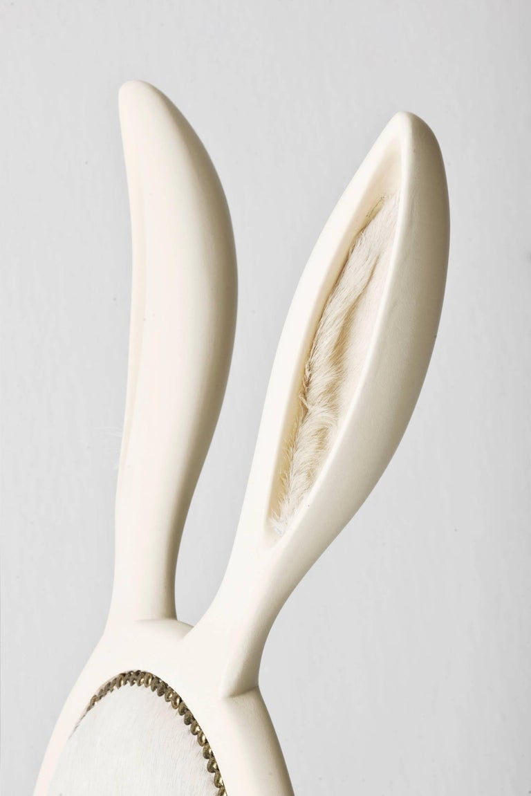 Turkish 21st Century Hybrid No 2 Armchair with Bunny Ears and White Leather For Sale