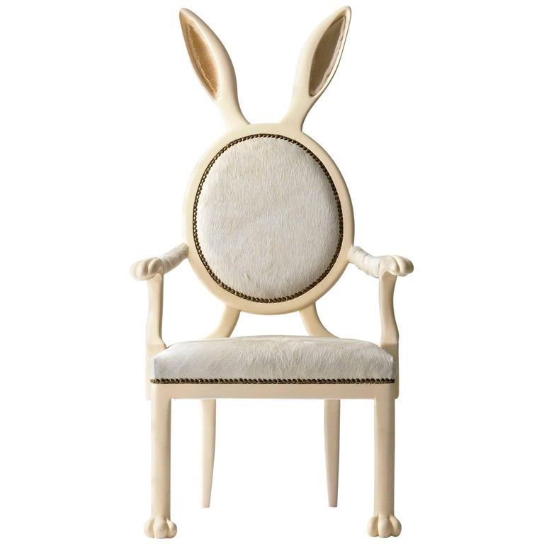 21st Century Hybrid No 2 Armchair with Bunny Ears and White Leather For Sale