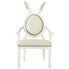 21st Century Hybrid No 2 Children's Armchair with Bunny Ears and White Leather