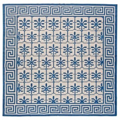 21st Century Indian Dhurrie Blue and White Handmade Cotton Rug