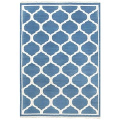 21st Century Indian Dhurrie Design Blue and White Handmade Cotton Rug