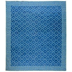21st Century Indian Dhurrie Handmade Cotton Rug in Blue