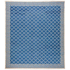 21st Century Indian Dhurrie Off-White and Indigo Flat-Woven Cotton Rug