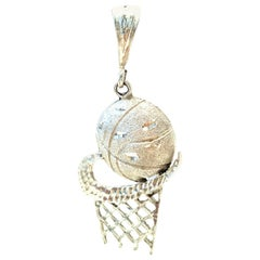 21st Century Italian 925 Sterling Silver Nike Style Basketball Necklace Pendant.