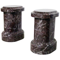 21st Century Italian Marble Red and Violet Pair of Sculpture Pedestals Classical