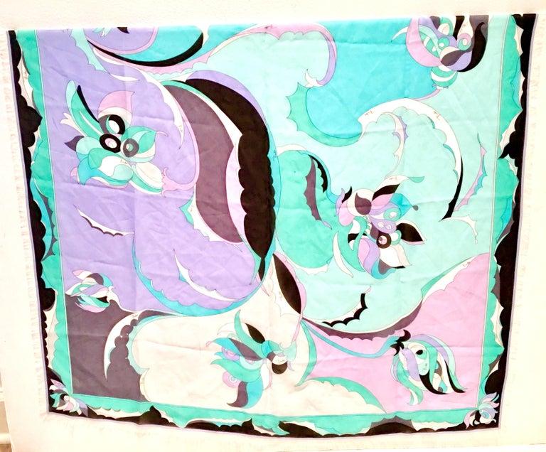 Blue 21st Century Italian Oversized Geometric Print Silk Chiffon Scarf By, Pucci For Sale
