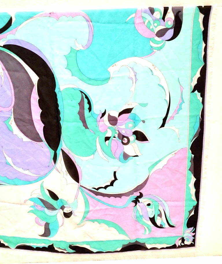 21st Century Italian Oversized Geometric Print Silk Chiffon Scarf By, Pucci In Excellent Condition For Sale In West Palm Beach, FL