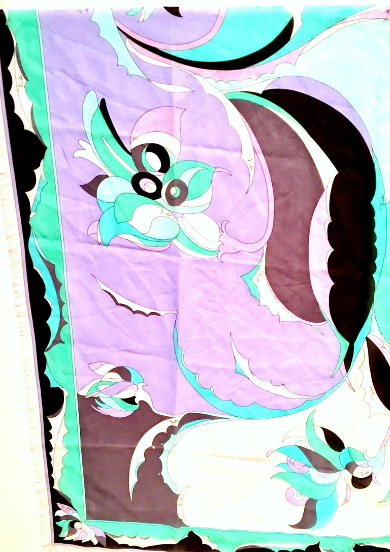 Women's or Men's 21st Century Italian Oversized Geometric Print Silk Chiffon Scarf By, Pucci For Sale