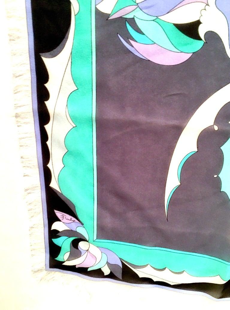 21st Century Italian Oversized Geometric Print Silk Chiffon Scarf By, Pucci For Sale 1