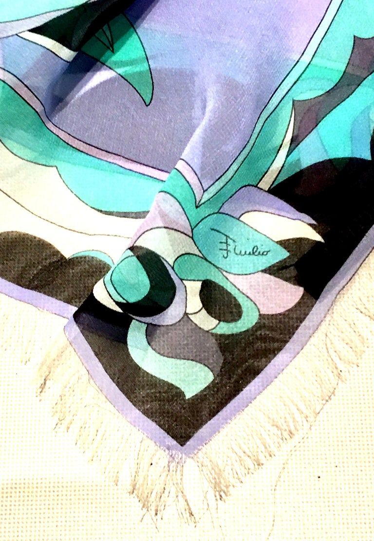 21st Century Italian Oversized Geometric Print Silk Chiffon Scarf By, Pucci For Sale 4