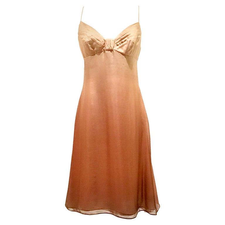 21st Century Italian Silk Chiffon Slip Dress By Girogio Armani - Size 42 For Sale