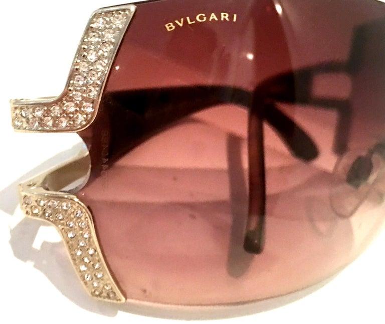 21st Century Italian Silver & Swarovski Crystal Bvlgari Logo Sunglasses  For Sale 5