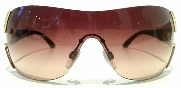 Brown 21st Century Italian Silver & Swarovski Crystal Bvlgari Logo Sunglasses  For Sale