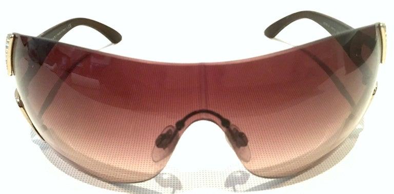 21st Century Italian Silver & Swarovski Crystal Bvlgari Logo Sunglasses  In Good Condition For Sale In West Palm Beach, FL