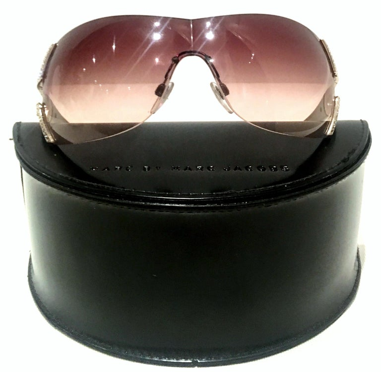 Women's or Men's 21st Century Italian Silver & Swarovski Crystal Bvlgari Logo Sunglasses  For Sale