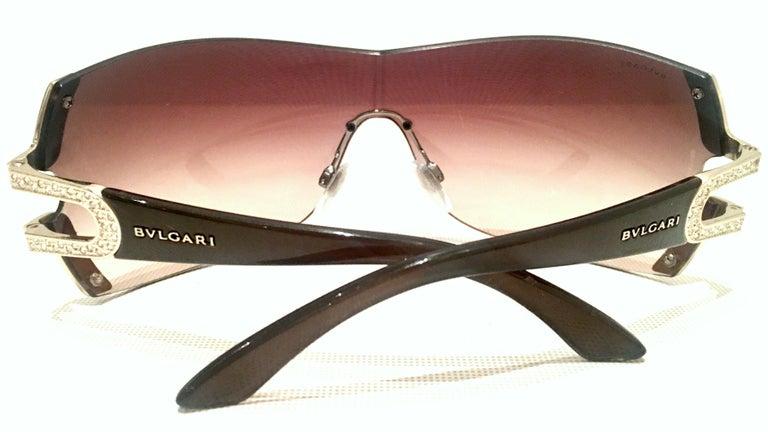 21st Century Italian Silver & Swarovski Crystal Bvlgari Logo Sunglasses  For Sale 2