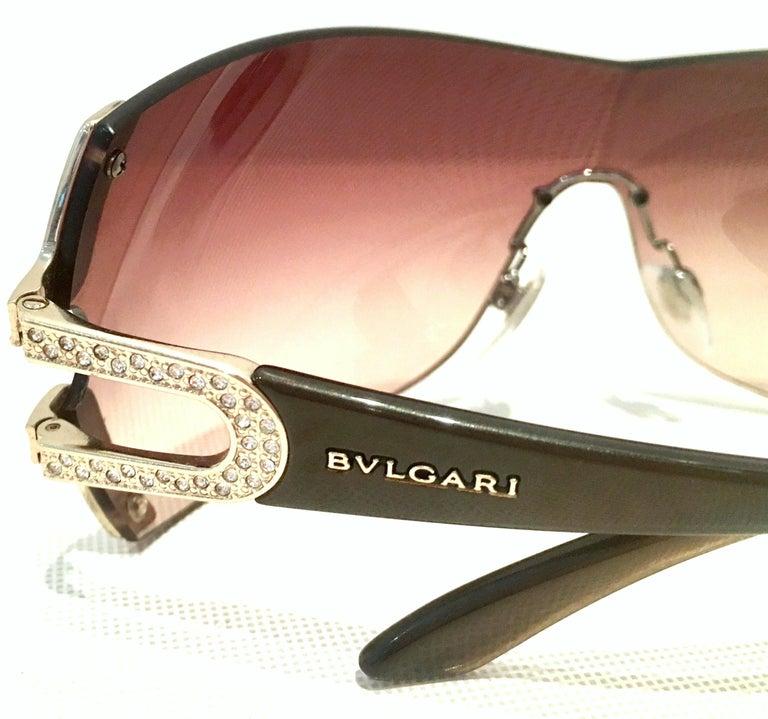 21st Century Italian Silver & Swarovski Crystal Bvlgari Logo Sunglasses  For Sale 3