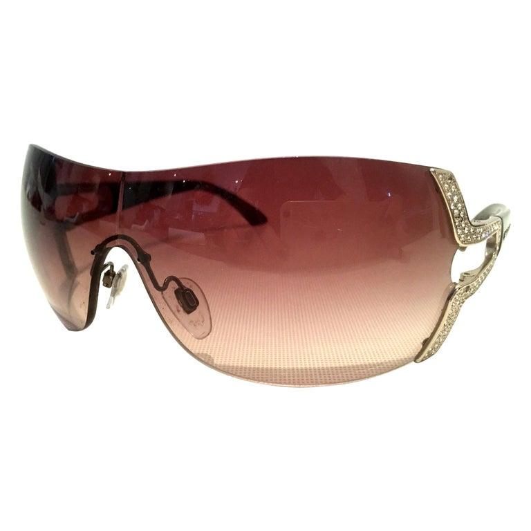 21st Century Italian Silver & Swarovski Crystal Bvlgari Logo Sunglasses  For Sale