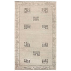 21st Century Ivan Da Silva-Bruhns Inspired Art Deco Gray and White Wool Rug