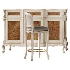21st Century Ivory and Veneer Baroque Legs Bar Cabinet by Modenese Gastone