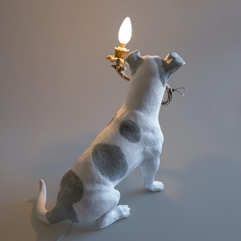 Modern 21st Century Jack Russell Dog Lamp Light by Marcantonio, White Painted Bronze For Sale
