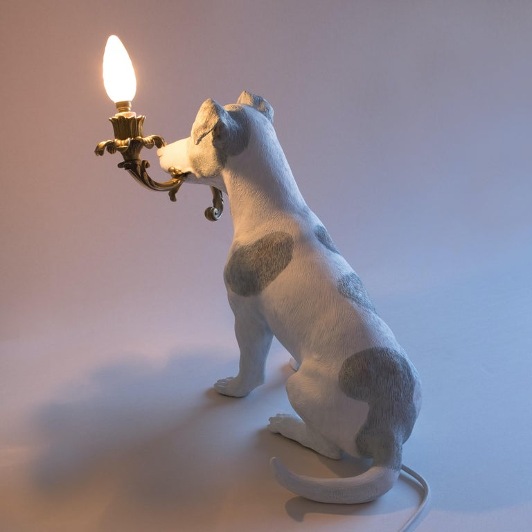 Italian 21st Century Jack Russell Dog Lamp Light by Marcantonio, White Painted Bronze For Sale