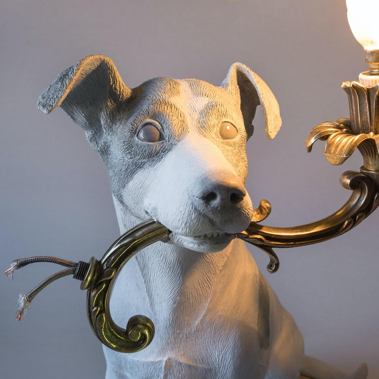 Hand-Painted 21st Century Jack Russell Dog Lamp Light by Marcantonio, White Painted Bronze For Sale