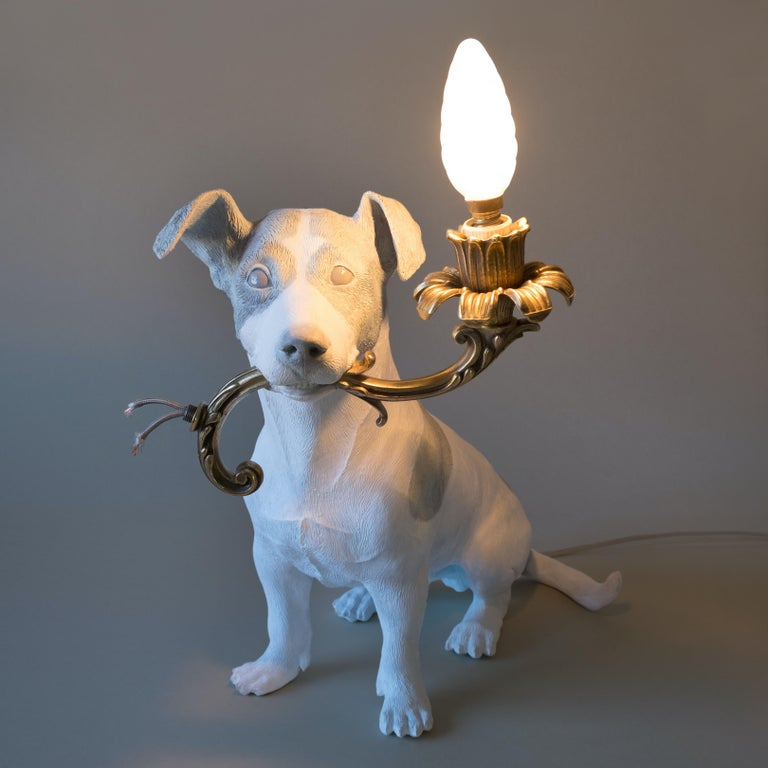 21st Century Jack Russell Dog Lamp Light by Marcantonio, White Painted Bronze In New Condition For Sale In Cesena, IT