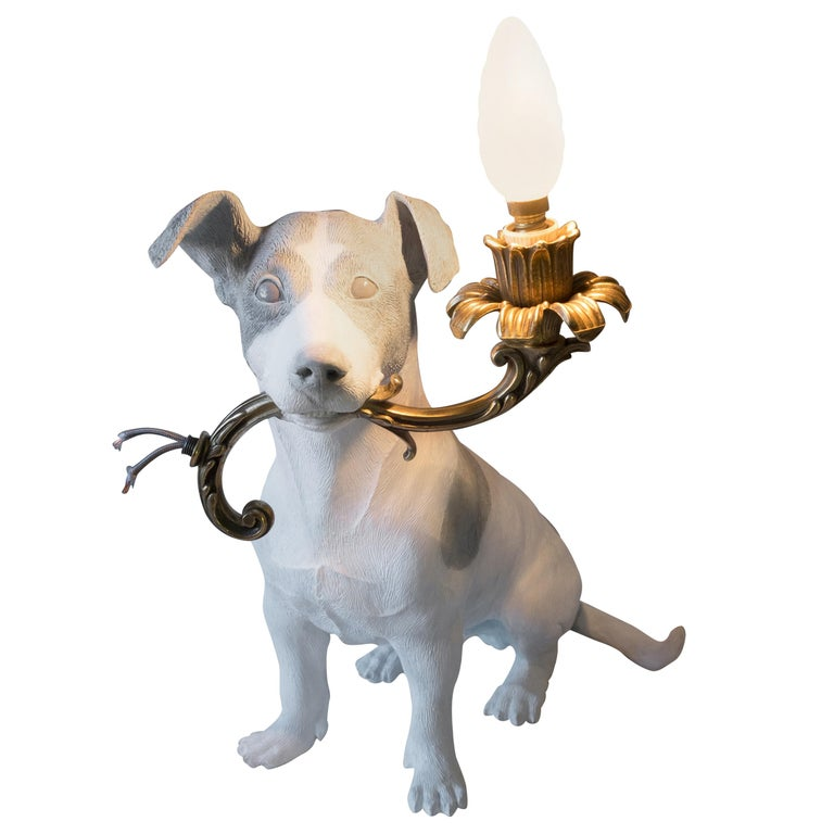 21st Century Jack Russell Dog Lamp Light by Marcantonio, White Painted Bronze For Sale