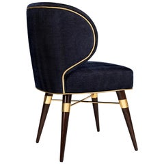 21st Century Jacquard Velvet Louis Dining Chair Polished Brass Walnut
