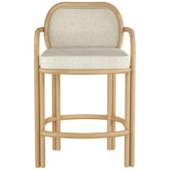 21st Century James Bar Chair Oak Cotton Velvet