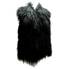 21st Century Jet Black Mongolian Fur Vest By, Michael Kors