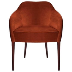 21st Century Joan Dining Chair Cotton Velvet Walnut Wood