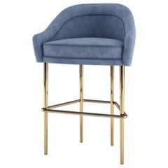 21st Century Katharina Bar Chair Cotton Velvet Brass