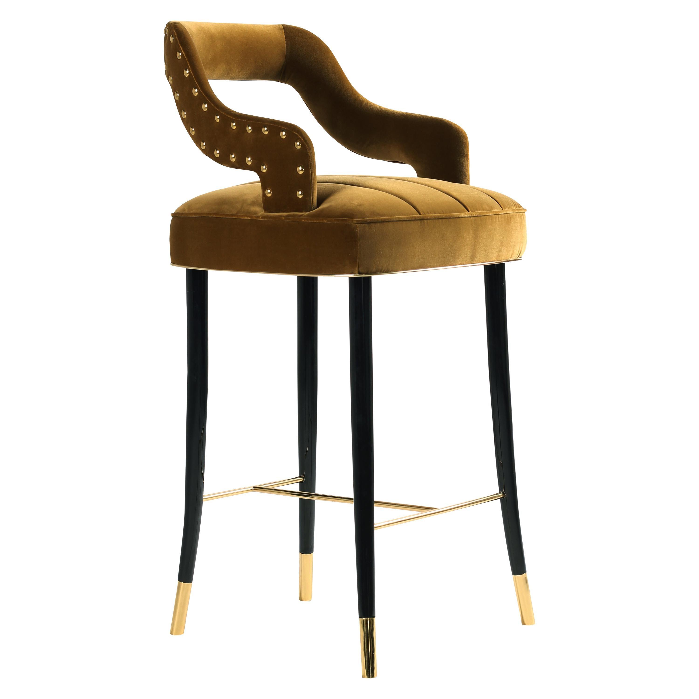 21st Century Kelly Bar Chair Cotton Velvet Beechwood