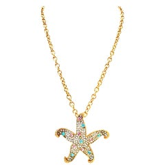 21st Century Kenneth Lane Gold & Swarovski Crystal Starfish Pendant Necklace